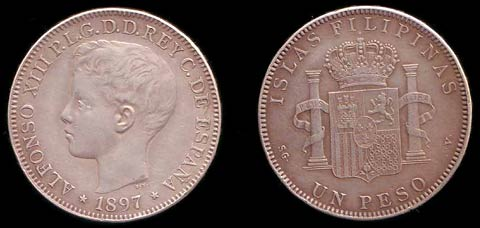 1897 Philippine 1 Peso coin, with the boy King Alfonso XIII.