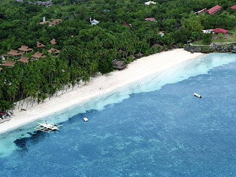 Alona Beach from the air
