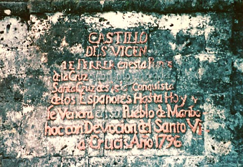 Sign on Punta Cruz Tower